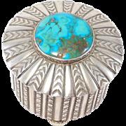 Ornate Silver & Royston Turquoise Navajo Trinket Box