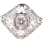 Antique Filigree Diamond Ring Edwardian 18K