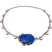 Art Nouveau Sterling Iris Necklace With Sodalite