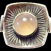 Modernist European Moonstone Silver Ring