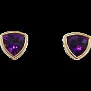 Gorgeous 18K Trillion Cut Amethyst Stud Earrings