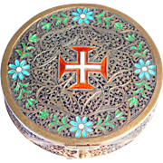 Victorian Silver Filigree Enamel Rosary Box W/Coral Rosary