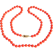 Antique Red Coral Beads 6Mm Knotted Gold Clasp