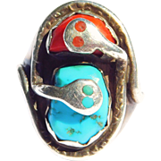 Oversize Effie C. Turquoise Coral Snakes Ring Zuni Silver