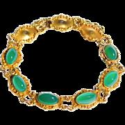 Art Nouveau 10K Gold Repousse Chrysoprase Bracelet