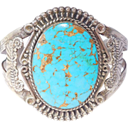 Gorgeous Wide Blue Gem Turquoise Silver Cuff Bracelet