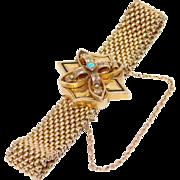 1880'S Victorian 10K Rose Gold Slide Bracelet With Opal & Enamel