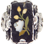 Victorian Silver Dragons Ring With Pietra Dura