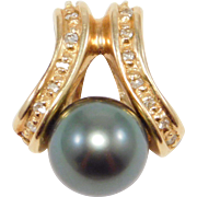 Signed Estate 14K Diamond And Tahitian Pearl Enhancer