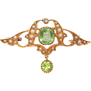 Art Nouveau 15ct Peridot And Seed Pearl Brooch