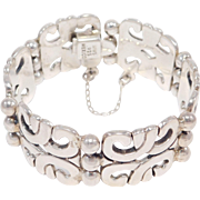 Signed Heavy Mexican Silver Bracelet