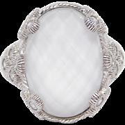 Elegant Judith Ripka Frosted Quartz Crystal Ring