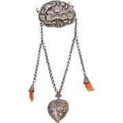 Ornate Old Silver Repousse Bell And Carnelian Amulet