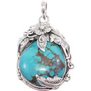 Pretty Sterling Turquoise Large Artisan Pendant