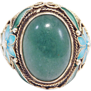 Filigree Jade Chinese Silver Cloisonne Ring Old