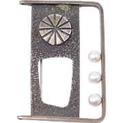 Rare Modernist Brooch By Tuttle Sterling & Pearl
