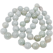 Pretty 10mm Celadon Jade Knotted Beads 14K Clasp