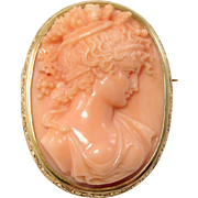 Large 14K Carved Coral Spectacular Cameo Brooch Pendant Victorian