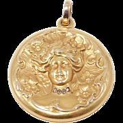 14K Art Nouveau Repousse Lady Locket With Diamonds
