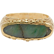 22K Chinese Ornate Jade Saddle Ring As Is Antique