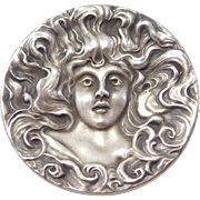 Ornate Art Nouveau Lady Repousse Brooch With Flowing Hair