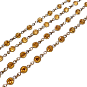 Open Backed Amber Crystal Necklace Deco 54 Inches