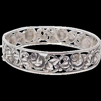Antique 835 Silver Pierced Repousse Roses Bangle Bracelet