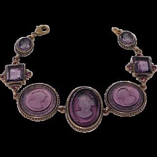 Beautiful Extasia Amethyst Glass Intaglio Cameo Bracelet Bronze Finish