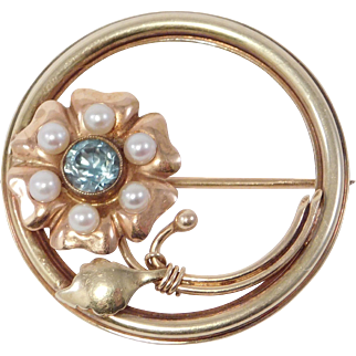 Art Deco 14K Multi Color Gold Natural Zircon And Seed Pearl Brooch