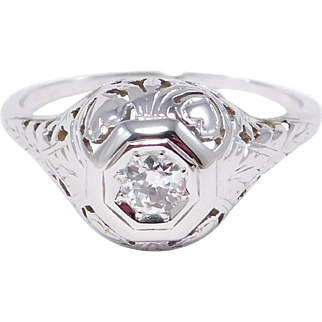 Antique 14K Filigree Diamond Ring With Hearts .20 Diamond