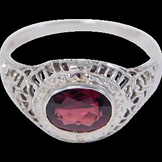 Elegant 14K Filigree Oval Garnet Ring Edwardian