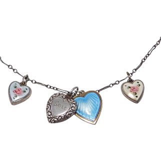 Antique Necklace With Puffy Enamel Heart Charms Sterling