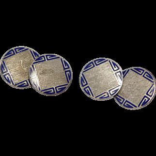 Art Deco Sterling Enamel Engraved Cufflinks