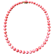 Beautiful 8mm Natural Coral Beads 14K Coral Cabochon Clasp Estate 18 Inches