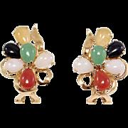 14K Omega Back Natural Multi Colored Jade Estate Earrings