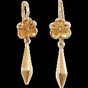 Elegant 18K Drop Earrings Antique Floral