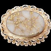 14K Victorian Gold Quartz Brooch 1880'S
