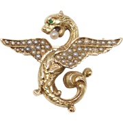 Victorian 14K Griffin Seed Pearl Watch Pin 1890