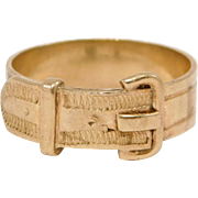 Antique Engraved 14K Buckle Ring Band
