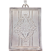 Large Art Deco Sterling Engraved Locket