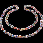 Pretty Italian Millefiori Glass Oval Bead Necklace