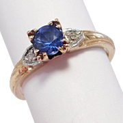 Elegant Art Deco Natural Sapphire & Diamond Ring