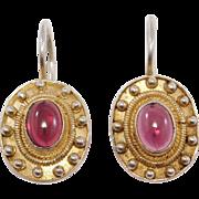 Vermeil Cabochon Garnet Leverback Earrings