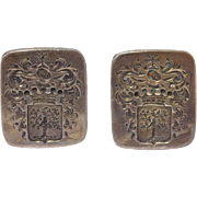 Ornate Heraldic Shield Detailed Sterling Vintage Cufflinks