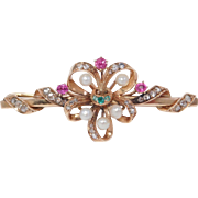 Victorian Rose Cut Diamonds & Rubies Emeralds And Pearl Brooch In Rose Gold