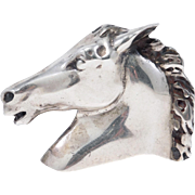 Heavy Signed Sterling Horse Or Mustang Belt Buckle