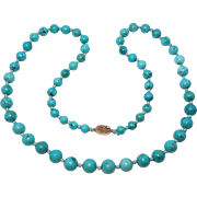 Graduated Chinese Turquoise Beads Necklace
