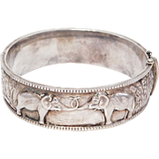 Ornate Repousse Sterling Bracelet With Elephants