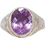 14K Art Deco Engraved Checkerboard Amethyst Ring