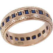 Art Deco 14K Rose Gold Sapphires Eternity Band Ring